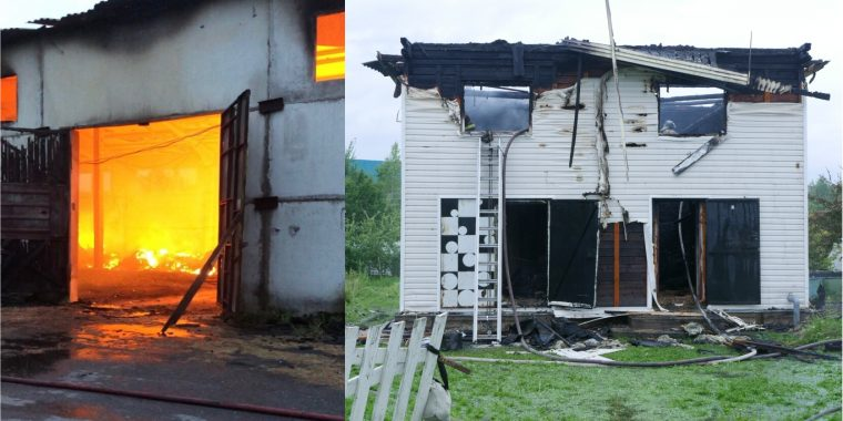 В Паше сгорел ангар, а в Новой Ладоге частный дом и баня