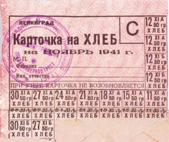 Продуктовые карточки в годы войны