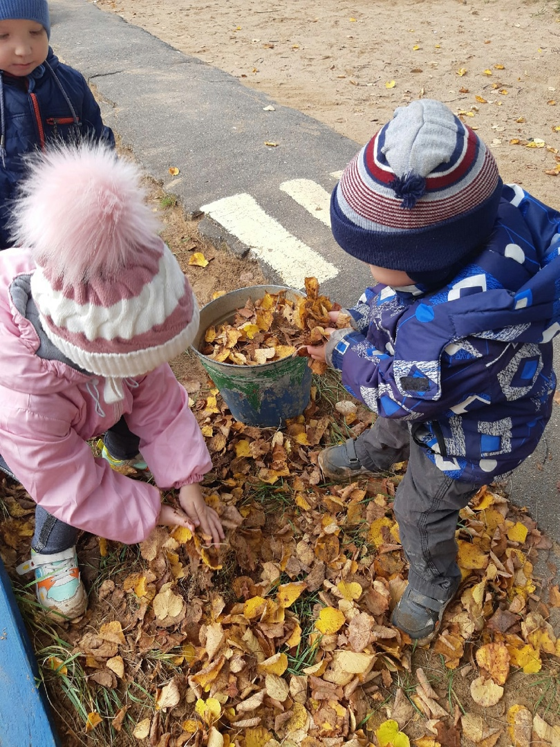 """""""Поможем малышам убрать листья на участке"""""""